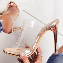 JOJOFOX New Clear Pvc Transparent sandals Slippers champagne High female mules Roman women pumps peep toe stiletto Party