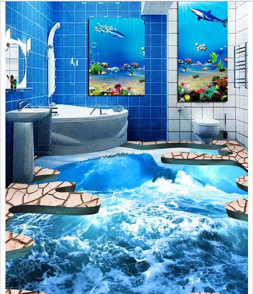 Custom photo Waterproof floor wallpaper Sea ice to crack the bathroom 3d mural PVC wallpaper self-adhesion floor wallpaer given to the sea