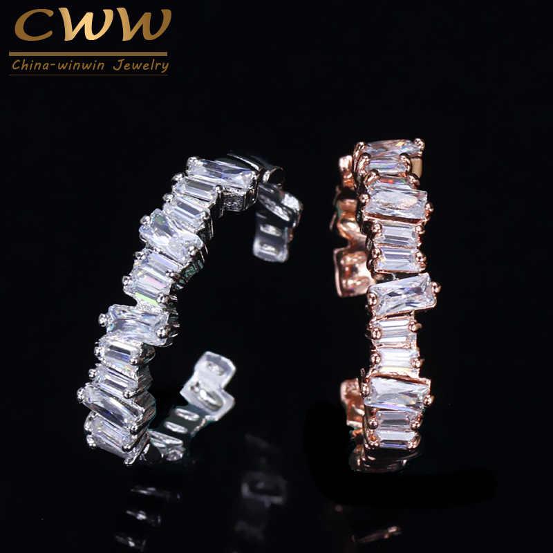 CWWZircons เครื่องประดับที่มีชื่อเสียงยี่ห้อ Baguette Cz หมั้นแหวนนิ้วมืออุปกรณ์เสริม Anel แหวน R038