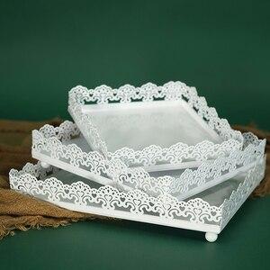 Bandeja cuadrada para Tartas de hierro blanco de 6/8/10 pulgadas, utensilios para tartas de Metal, decodificador de mesa de boda de alta calidad, utensilios para hornear, cocina, comedor y bar