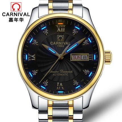 Carnaval automatique mouvement bleu gaz lumineux lumineux de montre de luxe hommes étanche mécanique montre en acier sapphire horloge