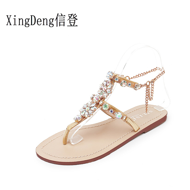 c6121d9a95ab87 XingDeng Ladies Party Colorful Chain Summer Sexy Sandal Shoes 36-43 Size Women  Bohemia Crystal Stone T Strap Flat Sandals Shoes