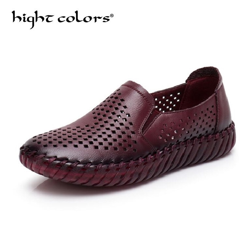 Summer Women Shoes Woman Genuine Leather Flat Shoes Soft Breathable Hole Shoes Women's Flat Casual Shoes Women Loafers summer women flats shoes casual flat women shoes slips flat women loafers shoes slips leather black flat s women s shoes