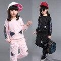 Блестка девушки одежда наборы символов 2017 весна осень маленькая девочка-подросток одежда костюмы черный розовый синий детская одежда