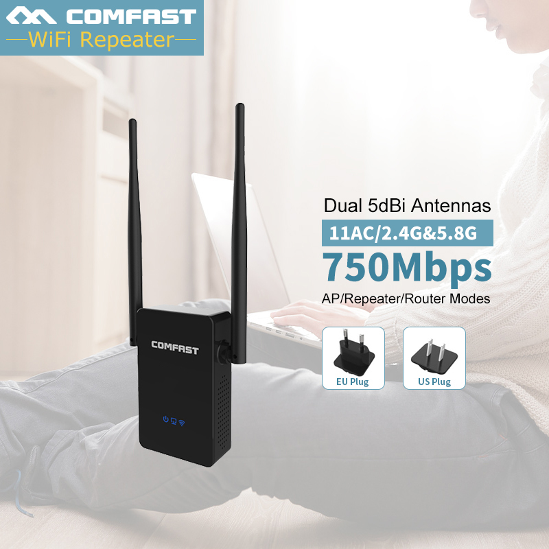 Comfast Dual Band 750Mbps Wifi Repeaters Roteador 802.11AC Wireless Router 2.4GHz +5GHz CF-WR750 AC Wi fi Extender Amplifier comfast cf wr750v2 dual band 750mbps wifi repeater roteador 802 11ac wireless router 2 4 5 8ghz long rang wi fi signal amplifier
