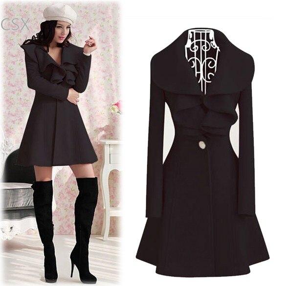 Hot Selling Korea Lady Women's Elegant Ruffles Collar Slim Fit Long Wool   Trench   Coat Winter Outwear Overcoat 4 Size b6