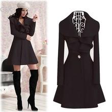 Hot Selling Korea Lady Women's Elegant Ruffles Collar Slim Fit Long Wool Trench