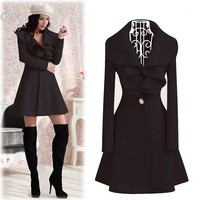 Hot Selling Korea Lady Women's Elegant Ruffles Collar Slim Fit Long Wool Trench Coat Winter Outwear Overcoat 4 Size b6