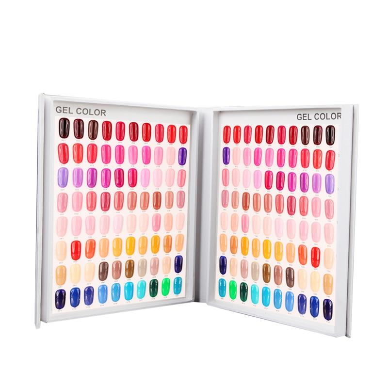 все цены на 120 Colors Gel Nail Tips Display Chart Salon Nail Gel Color Card Manicure Polishing Dispaly Cardboard Nail Art Equipment Tools онлайн