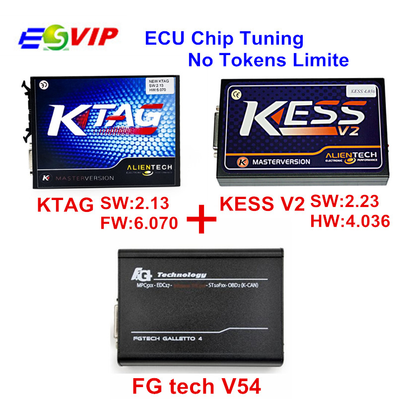 DHL Livraison Newes KESS V2 Gestionnaire Tuning Kit NoToken KESS V2.32 + KTAG V2.13 K tag ecu outil de programmation + FG TECH Galletto 4 V54