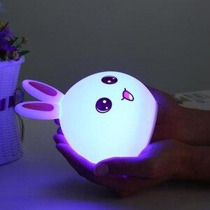 Image 5 - 토끼 램프 토끼 LED 밤 빛 어린이 Nightlight 아기 잠자는 머리맡 램프 USB 실리콘 탭 제어 터치 센서 빛
