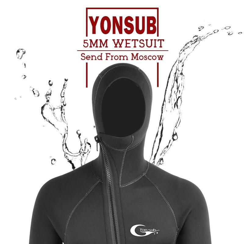 TSMC néoprène plongée sous-marine combinaison 5 mm hiver chaud hommes capuche surf avant fermeture éclair plongée sous-marine sous-marine à capuche combinaison de plongée