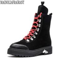 2018 Genuine Leather Women Martin Boots Winter Warm Shoes Botas Feminina Female Hiking Ankle Fashion Women