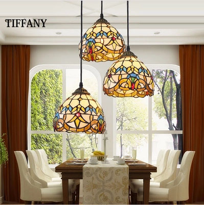 European Tiffany retro shell Mediterranean pastoral Pendant Lights 3 Line Head luminaria teto hanging Lamps For Home Decoration tiffany mediterranean style peacock natural shell ceiling lights lustres night light led lamp floor bar home lighting