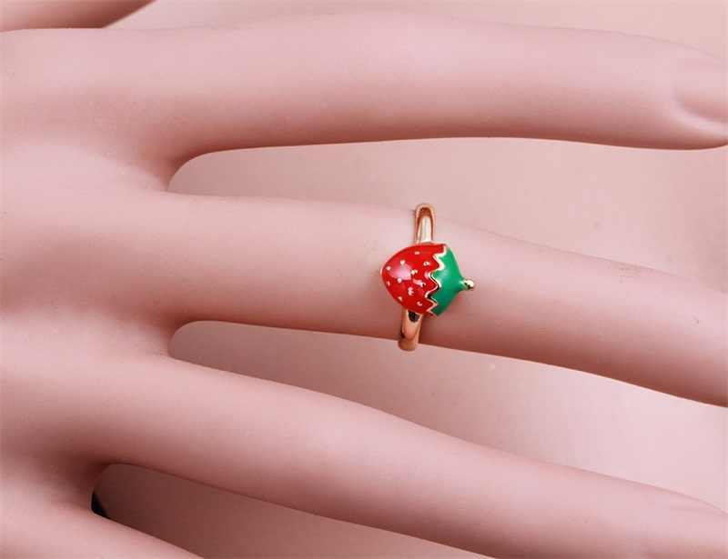 Baby Kinder Kinder Mädchen Schmuck Sets Gold Farbe Nette Rote Erdbeere Anhänger Halskette Antiallergisch Ohrringe Verstellbaren Ring
