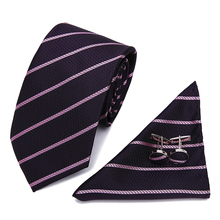 Vangise Mens Ties Grays Floral Striped Silk Jacquard Tie Hanky Cufflinks Set Business Gift For Men Free Shipping