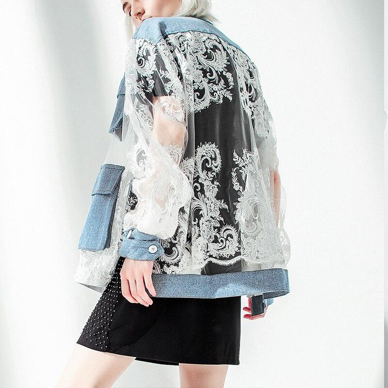 2019 été col montant à manches longues manteau bleu évider Perspective maille brodé veste femmes manteau Parka veste Streetwear
