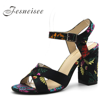 Fesneisee Summer Women Sandals Open Toe Flip Flops Women's Sandles Square Heels Silk Women Shoes Casual Style Outdoor Shoes 4.0