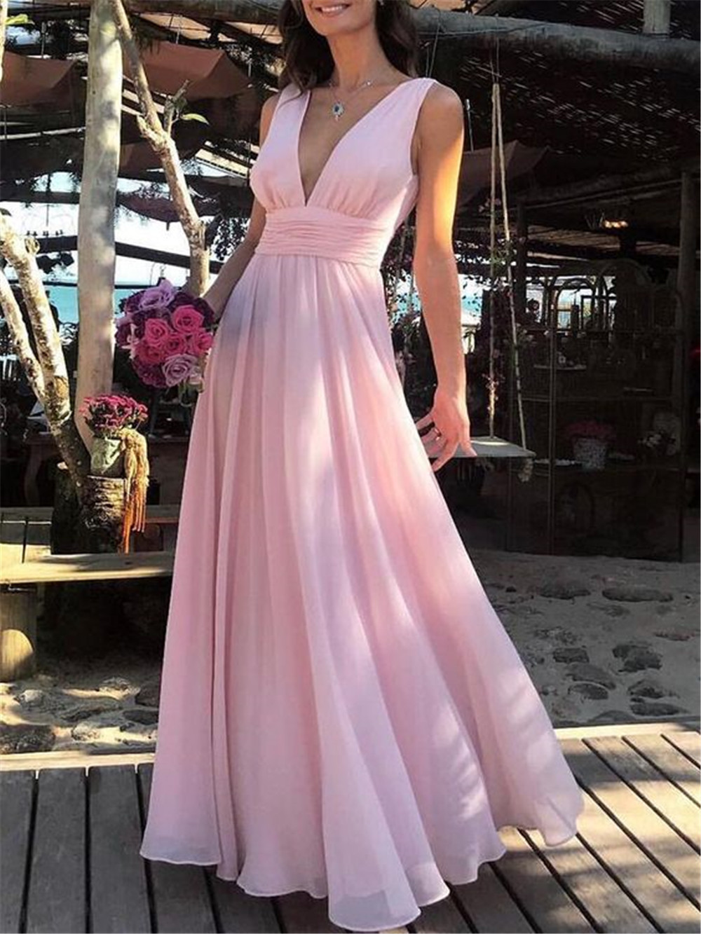 2019 Elegant Pink Chiffon   Bridesmaid     Dresses   V Neck A Line Floor Length Long Formal Occasion   Dress   Cheap Wedding Party Gowns