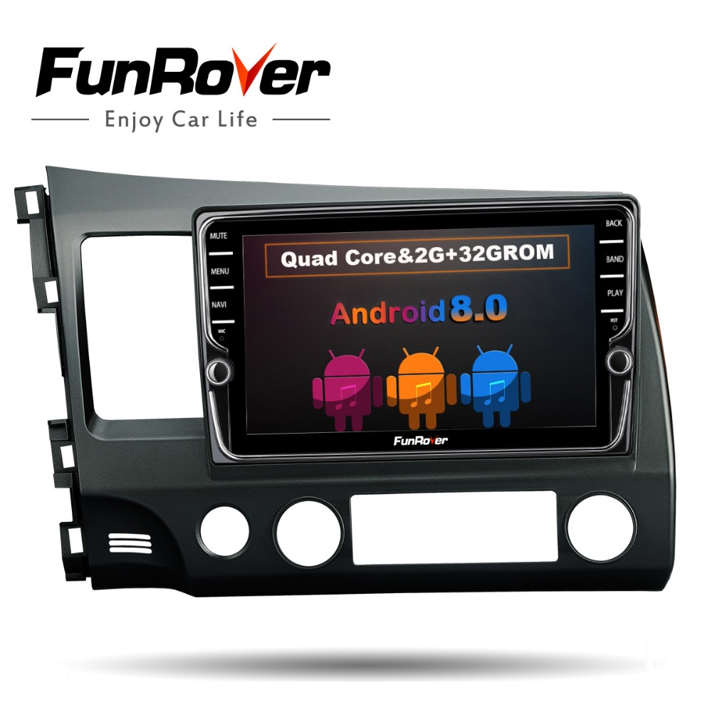 FUNROVER android 8.0 2 din car dvd for honda civic 2006 2011 navigation gps car radio video stereo multimedia player 2G RAM 32G