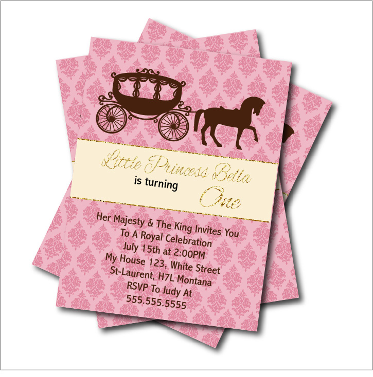 20 Pcs/lot Cinderella Carriage Birthday Invitations Baby Shower Invites  Custom Birthday Party Decoration Supplier