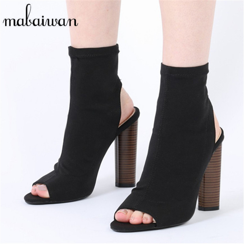 Mabaiwan Sexy Black Women Stretch Fabric Ankle Boots Peep Toe Slingback High Heels Elastic Sock Botas Women Summer Sandals fashion kardashian ankle elastic sock boots chunky high heels stretch women autumn sexy booties pointed toe women pumps botas