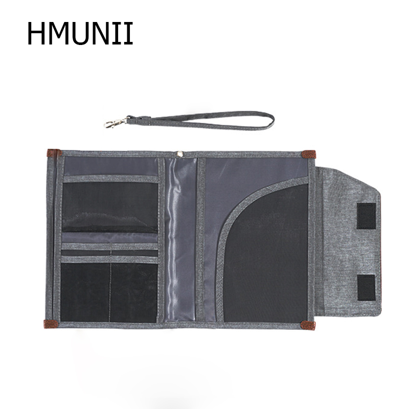HMUNII Waterproof Travel  Document Bag Portable Student File Folder Oxford Briefcase Notebooks  Phone Storage Travel Accessories