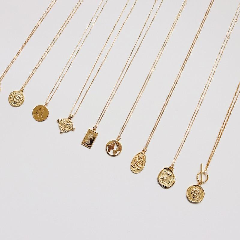 Pièce de monnaie Collier 925 argent tour de cou Kolye or pendentif charme minimalisme Vintage Boho Bijoux Femme Collier femmes Bijoux