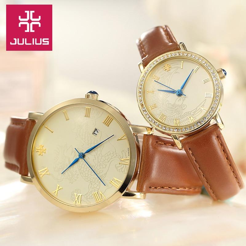 Julius Woman Man Couple Watch 4 Colors Japan Mov Homme Hours Fashion Dress Bracelet Leather Band