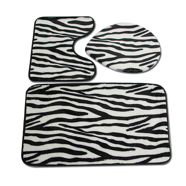 7cf6234c7733 3 pcs/set Zebra Striped Bathroom Rugs Soft Floor Mat for Toilet Seat Cover  Mat Modern Toilet Mat Set Bathroom Carpet WC Rugs