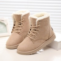 Fashion Ankle Boots For Women Lace Up Ladies Winter Shoes with Fur Footwear Black Female Cotton Winter Women Snow Boots CJ199