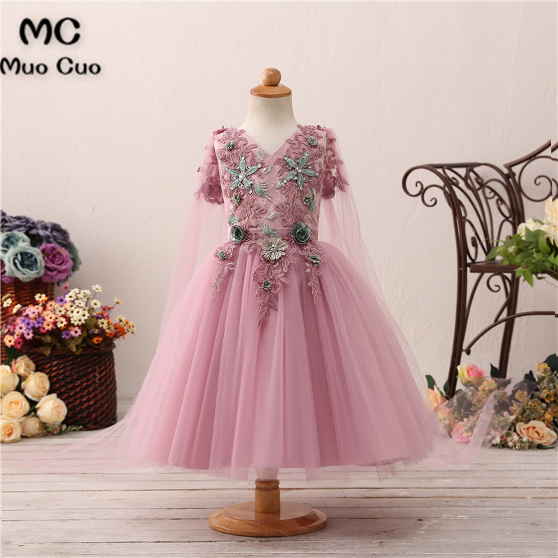 New Arrival first communion pageant   dresses   for   girls   Long Sleeves Appliques Beading   flower     girl     dresses   for weddings 2018