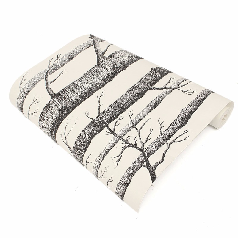 Birch Tree Pattern Non-woven Woods Wallpaper Roll Modern Designer Wallcovering Simple Black And White Wallpaper For Living Room wood wall wallpaper birch tree pattern non woven woods wallpaper roll modern designer wallcovering simple papel de parede 3d