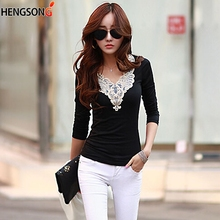 1Pc 2015 Fall Fashion V neck Lace Crochet Patchwork Long sleeved Women Blouse Korean Style Solid