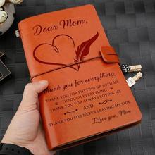 Cuir gravé pour femme, fille, fils, maman et papa, Journal, cahier, agenda, famille avec messages personnalisés, cadeau danniversaire