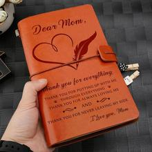 To Wife, Daughter,Son,Mom And Dad Engraved Leather Journal Notebook Diary Custom Message Quotes Gift Anniversary Family