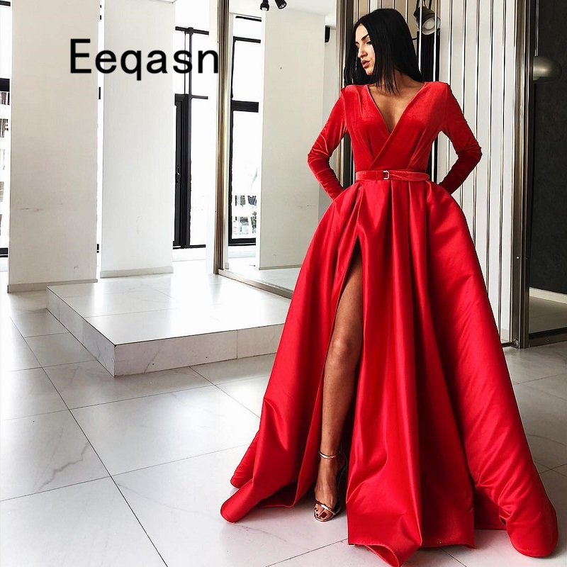 New Arrival Evening Dresses 2019 Long Sleeves V Neck A -7690