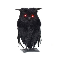 Halloween Props Artificial Animal Luminous Eyes Owl Toy Props Art Crafts Halloween Venue Layout Party Simulation Owl Funny toy(China)