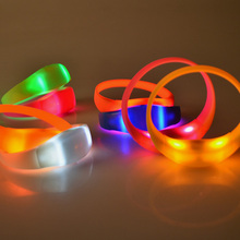 1pc Sound Controlled Led Flashing Bracelet Light Up Glow Flash Bangle Night Club Activity Hand Strap Party Bar Cheer Props(China)