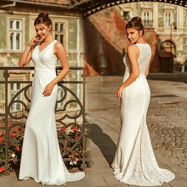אי פעם די Robe דה Mariee חדש אלגנטי V צוואר שרוולים תחרת בת ים שמלות כלה לטאטא רכבת פשוט כלה שמלות EP07385CR