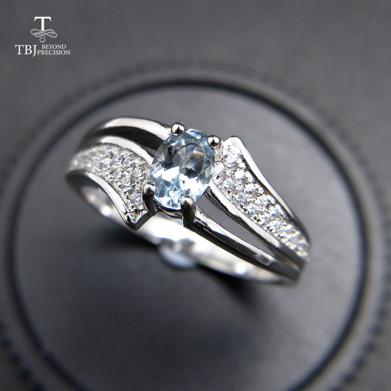 TBJ elegant and classic ring with 100 natural aquamarine ring 925 sterling silver for women lady