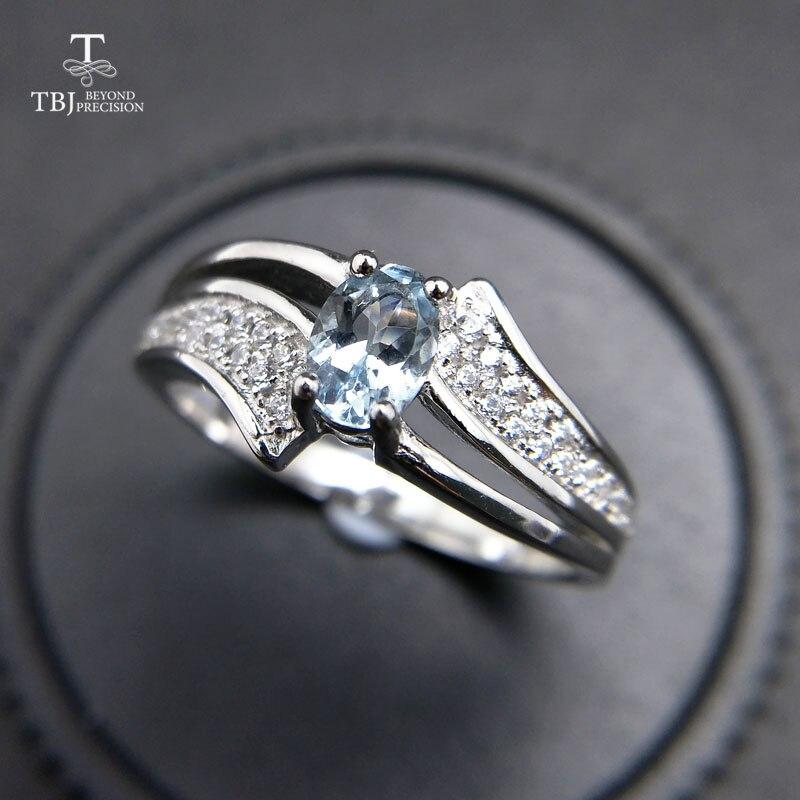 TBJ, elegante en klassieke ring met 100% natuurlijke aquamarijn ring 925 sterling zilver voor vrouwen lady als anniversary gift met doos-in Ringen van Sieraden & accessoires op  Groep 1