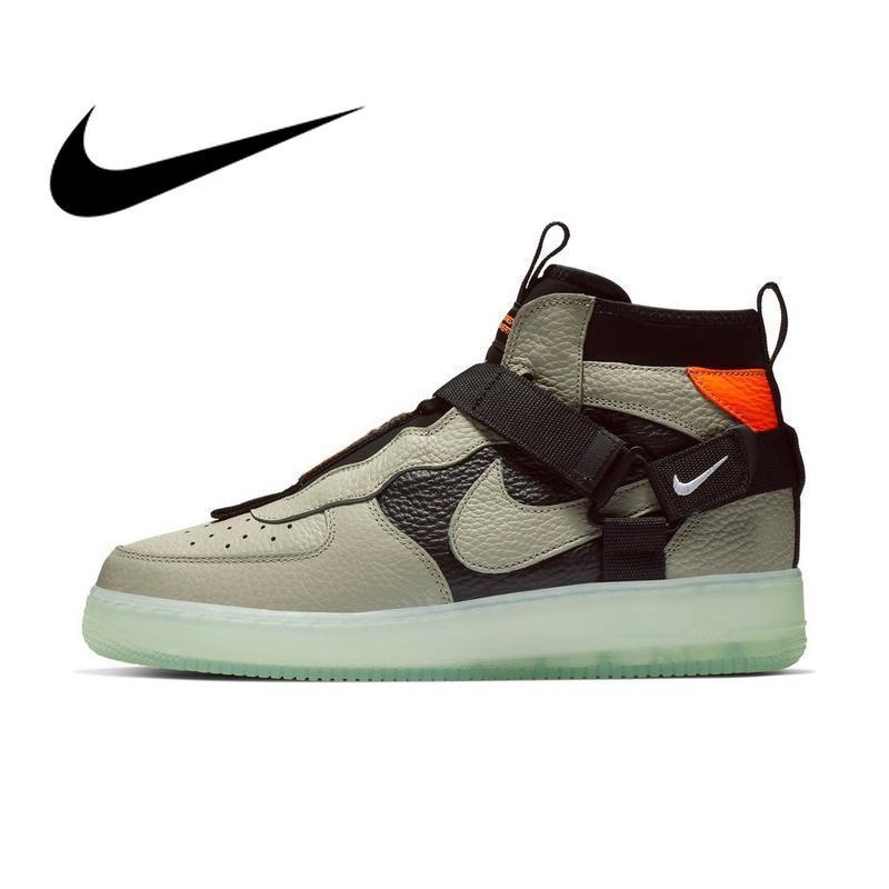 NIKE AIR FORCE 1 utilitaire mi AF1 2019 nouveaux hommes chaussures de skate noir vert baskets Designer bonne qualité athlétique AQ9758-300