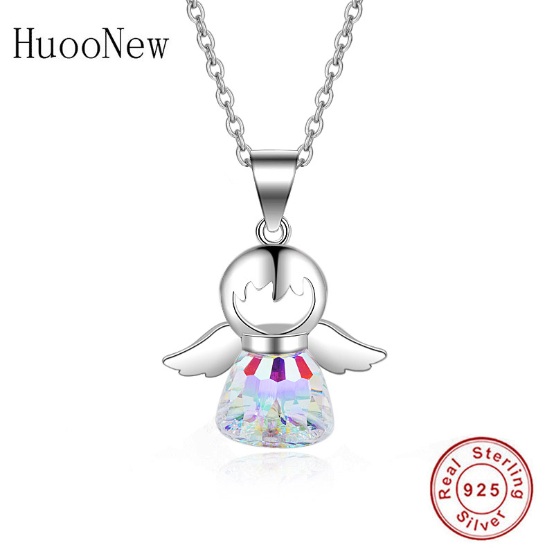 925 Sterling Silver Girl Angel Wings & Natural Stone Bottle Necklace Pendant Woman Choker Trinket Valentine's Day Collar Bijoux