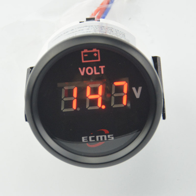 New 52mm Black Red Led backlight Stepper 12V lbattery motor and car motorcycle  Volt gauge Auto gauge Auto parts