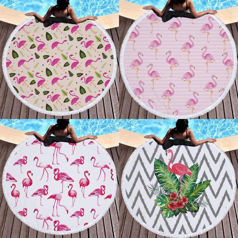 150*150 Cm Zomer Gooi Badhanddoek 2018 Nieuwste Ronde Zand Strandlaken Flamingo Patroon Shawl Vrouwen Kwasten Zwemmen Zonnebad Yoga