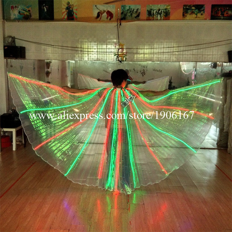 2 Pcs/lot hot sale colorful remote control LED cloak costumes for stage ballroom dancing