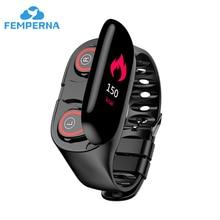 Femperna سماعات بلوتوث 5.0 سماعة رأس لاسلكية TWS مع سوار لياقة بدنية مراقب معدل ضربات القلب ساعة ذكية