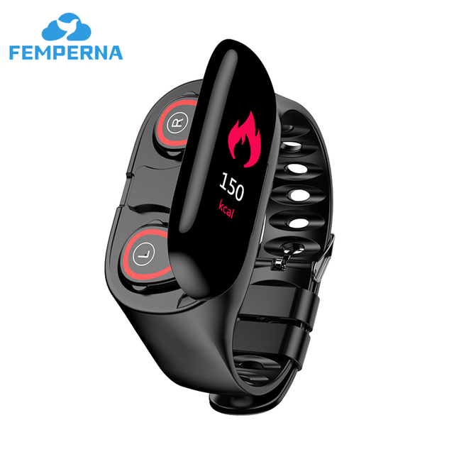 Femperna หูฟังบลูทูธบลูทูธ 5.0 หูฟังไร้สาย TWS พร้อมฟิตเนสสร้อยข้อมือ Heart Rate Monitor สมาร์ทนาฬิกา