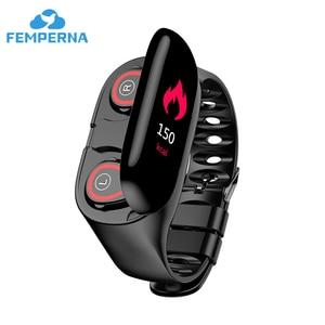 Image 1 - Femperna Bluetooth Kopfhörer Bluetooth 5,0 Drahtlose Kopfhörer TWS Mit Fitness Armband Herz Rate Monitor Smart Uhr